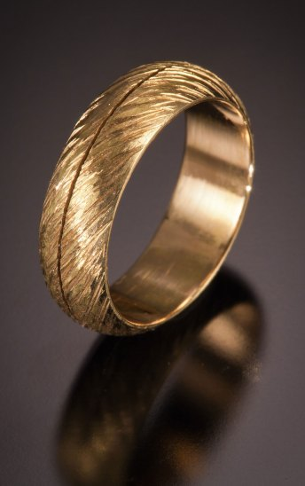 Nick Grant Barnes - 14k - carved wedding-band