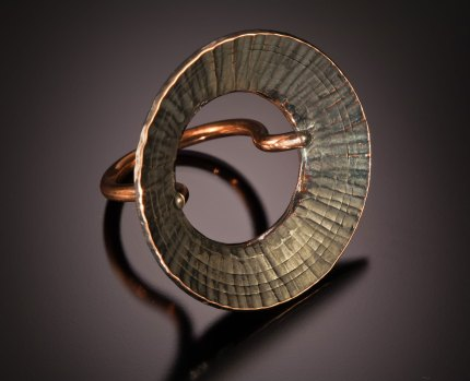 Nick Grant Barnes - Forged copper ring with sunflare banding - workshop sample