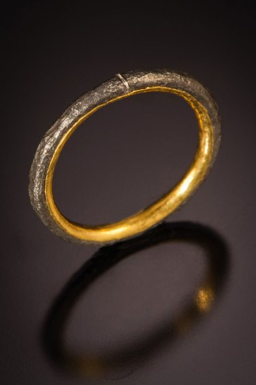 Nick Grant Barnes - Steel - oxidized & etched with 24k gold liner - Wedding band