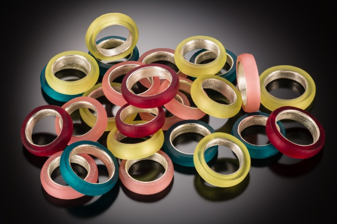 Acrylite satinice rings.